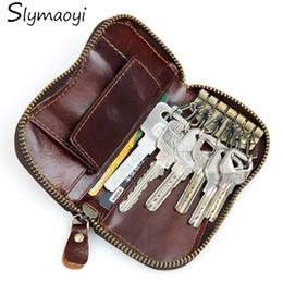 100% vera pelle borsa cerniera chiave portafogli donne chiave portachiavi auto chiavi borsa uomo chiave caso casuale pacchetto testa strato di pelle bovina da