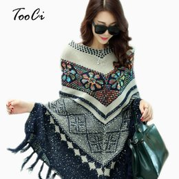 Пуловерный пончо пончо онлайн-Pull Pullover Cardigan Womens Capes And Ponchoes Spring Winter Cape With Tassel Women's Sweater Fashion Vintage Bohemian