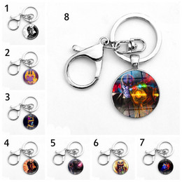 Wholesale Key Chain Iron Man - 18 Style Avengers 3 : Infinity War Keychain 2018 new Thanos Infinite gloves Iron Man time gemstone alloy glass Key Chain toys B