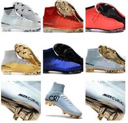 Wholesale High Tops Kids Canvas - 2018 High Top Men Kids Soccer Shoes Neymar Soccer Mercurial Superfly V CR7 FG AG Women Football Boots Ronaldo Youth Soccer Cleats