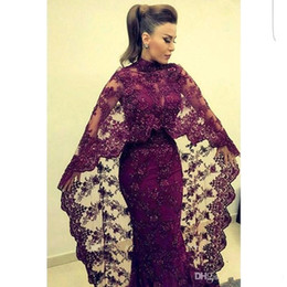 Wholesale Fancy Fuchsia - 2018 Arabic Dubai Fancy Lace Mermaid Long Evening Dresses Capped Sleeves Beaded Crystals Sweep Train Prom Dresses BA3193
