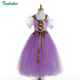 rapunzel tutu kostüm Rabatt Rapunzel Süße Bogen Tutu Tüll Kleid Blume Mädchen Geburtstag Party Kleid Kinder Kinder Cosplay Halloween Kostüm 2-10Y 2018 Neu