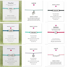 Wholesale Love Charm Bracelets For Women - Wish Bracelet With Gift Card Dog Paw Love Unicorn Teacher Charm Bracelets Bangles for Women men Friendship Statement Jewelry Greeting Cards