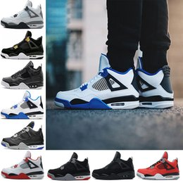 Wholesale Green 4s - 2018 4 4s Men Basketball Shoes Pure Money Premium Black Cat white cement Bred Fire red Fear Alternate sports shoes sneakers size 41-47