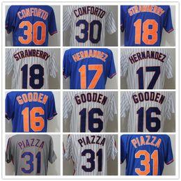 507737fdf 2018 Men's NY Mets 30 Conforto 31 Piazza 18 Darryl Strawberry 17 Keith  Hernandez 16 Dwight Gooden White Grey Blue Baseball Jerseys