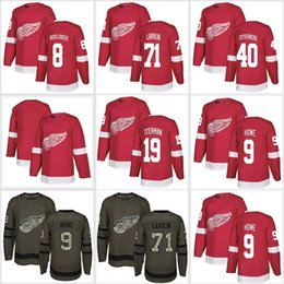 Mens 2018 New Detroit Red Wings Hockey Jerseys Dylan Larkin 9 Gordie Howe  40 Henrik Zetterberg Steve Yzerman blank Red Green Jersey Stitched 996cea39d