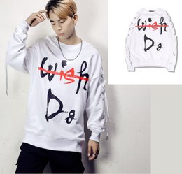 Wholesale Long Dance Sweaters - Autumn and winter Crewneck sweater and letters trend of hip-hop Pullover coat C44 men dance skateboard wear free shipping