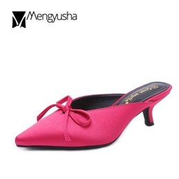 Wholesale western slides - Western brand kitten heel women slides butterfly-knot pointed toe mules slip on shoes ladies silk bow sandals flip flops mujer
