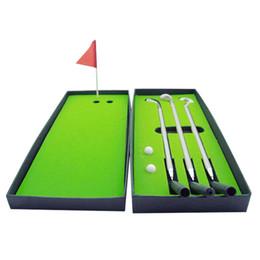 Wholesale golf toys - Golf Desktop Decompression Toy Suit Golfs Table Games Suit Mini Superior Metal Push Rod Pen Desk Accessories 16ja gg