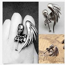 Wholesale Skull Wings Rings - whole saleFashion Women Fashion Jewelry Vintage Punk Rock Gothic Cool Skull Wing Cross Adjustable Finger Ring Hot Sale