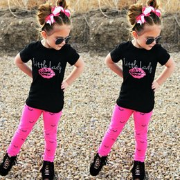 Wholesale Girls Shirts Lips - Girls' suits 2017 New summer clothes Children's spring and autumn Lip letter T-shirt + eyelashes leggings two-piece turn into women