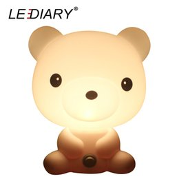 Wholesale Bear Led Night Lamp - LEDIARY White Bear Cartoon Lamp Bear LED Desk Lamp E14 Replaceable Light Source Both Desk and Night Light Baby Bedside