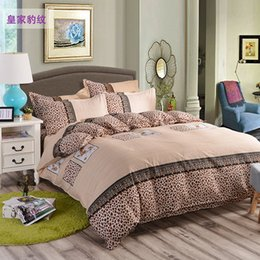 Wholesale fiber chocolate - Sale stripe bed linen 4Pcs bedding sets Duvet Cover+Bed sheet+Pillowcase twin Full Queen King size Bed Sheet housse de couette