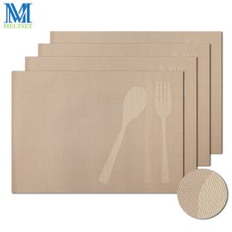 Wholesale Bamboo Fork Set - Wholesale- 4pcs Set Spoon and Fork Pattern Kitchen Table Mats 45x30cm PVC Placemats for Dining Table