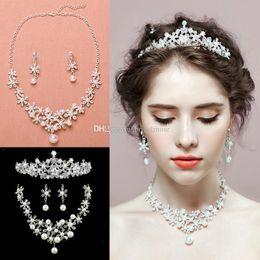 Wholesale Three Crowns Earrings - The Bride Tiaras Crowns Faux Pearl Crystal Wedding Hair Accessories Dressing Three piece Dress Wedding Tiara Necklace Earrings suit