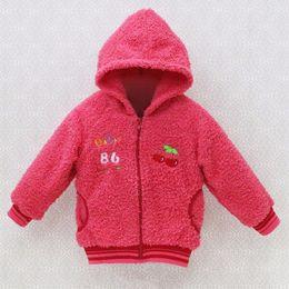 Wholesale tweed coat girl - 2018 new style winter baby long sleeve coral fleece hoodie jackest girls warm coats boys kids clothes fashion kidswear clothing