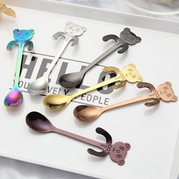 Wholesale gold tea spoons - Fashion Stainless Steel Spoon Cartoon Cute Panda Shape Hanging Coffee Scoop Rust Resistant Gold Plated Tea Spoons Sturdy 4 5xc B