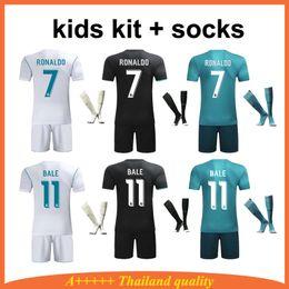 Wholesale Unisex Uniform Pants - Youth Real Madrid Kids Soccer Jersey Uniforms Kids Kit Soccer Pants Bale Football Jerseys Shirts Home Away 3rd