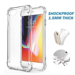 Wholesale Shock Absorption - For iPhone X 7 8 6 Plus 1.5MM Crystal Clear TPU Case Shock Absorption Soft Transparent Back Cover For Samsung S9 S8