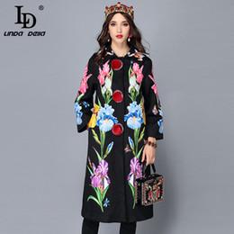 Deutschland LD LINDA DELLA 2018 Neue Herbst Winter Mäntel Frauenfrauen Blume Floral Jacquard Vintage Warm Langen Mantel Oberbekleidung Mantel Versorgung