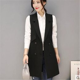 Wholesale Hooded Vests For Women - Fashion Sleeveless Jackets Vests For Women Black 2017 Office Lady Elegant Long Outerwear Casual brand colete feminino ZY3950
