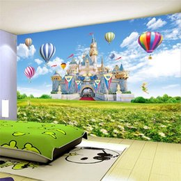 Wholesale Castle Background Photography - Custom 3D Photo Wallpaper Children Castle HD Landscape Photography Background Wall Painting Non-woven Wallpaper For Kids Room 3D