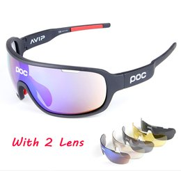 Wholesale Race Alloys - Wholesale POC 2 Lens Fashion Accessories With Polarized Brand Cycling Sunglasses Racing Sport Cycling Glasses Mountain Cycling Eyewear AAA+