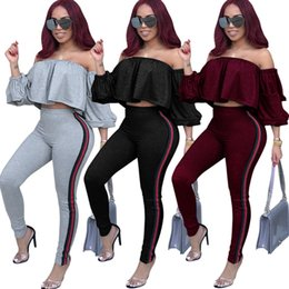 Wholesale ruffle vest top - brand new fashion Stacked Sleeves Stripe pants Anti-Lage Tops Two-piece sexy Nightclub Bow tie Wear dropping shipping