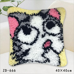 Wholesale Unfinished Embroidery - Diy Pillowcase Unfinished Environmental Handicrafts Cushion Cover Throw Pillow Home Sofa Car Chair Decoration Handmade Animals Cat