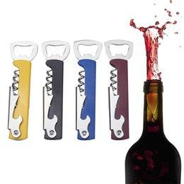 Wholesale Double Hinged - Openers Multi-function Wine Corkscrew Stainless Steel Bottle Opener Knife Pull Tap Double Hinged Corkscrew Cap Opener Tool GGA300 50PCS