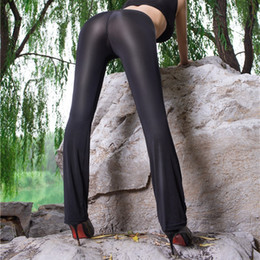 d7d880b8cf Super Sexy See Through Flare Pants Women Mesh Transparent Shinny Stretchy  Low Waist Trousers Erotic Nightclub Wear Hot Clubwear