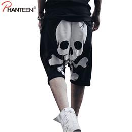 skull print harem pants Canada - Phanteen Skull Print Summer Man Harem Pants Hiphop Punk Street Style Cross-pants Casual Loose Sweatpants Fashion Men Trousers