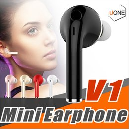 Wholesale Bluetooth V1 - Mini Wireless Stereo V1 Bluetooth Headset Earphone Handsfree With Mic Headphones For iPhone 6 7 Samsung S7 S8 S6 Xiaomi and More