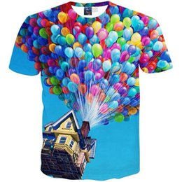 Wholesale Fashion House Clothes - 3D T shirts Summer Fashion Men Women 3d T shirt printed funny house colorful balloon tops clothes T43