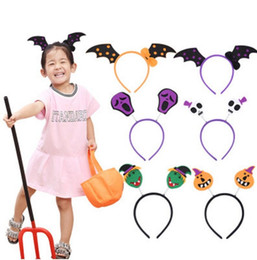 halloween spider rings Coupons - Kids Cute Halloween Decorations Children Pumpkin Headband Masquerade Witches Head Ring Spider Witch Hat Hair Bands