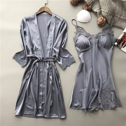 Wholesale Satin Night Suits - Sexy Embroidery Robe Gown Set Female Satin Sleepwear Home Suit Night Skirts Bathrobe 2 PCS Suspender Sleepwear