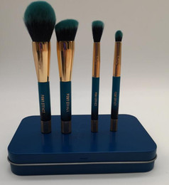 Pony-make-up online-Marke PONY EFFECT 4pcs Make-up Pinsel Blau Limited MINI MAGNETISCHE BÜRSTE SET KIT mit Metallbox Beauty Make-up Pinsel Mixer Werkzeuge
