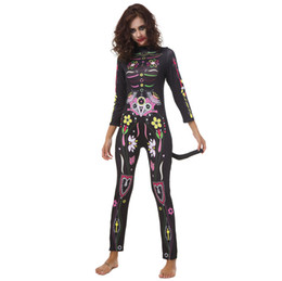 Donne operate tute online-Colorful Skeleton Printed Body Halloween Horror Sexy Ladies Ghost Tuta Manica lunga Cosplay Fancy Dress costumi per le donne