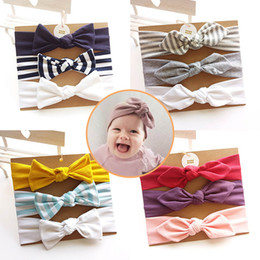 Wholesale Cotton Fabric Baby Headbands - Baby Cotton Headband With Fabric Hair Bow Hair Accessories head bands Set (3pc) For Toddler Girl