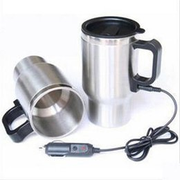 Wholesale 12v Coffee - Car Cup Bottle 12V 450ml Tea Coffee Water Heater Heating Tool Cup Electric Kettle Thermal Car cigarette lighter Heater driving