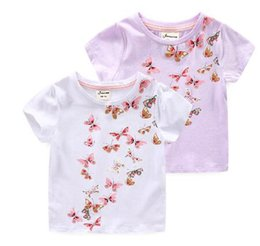fda38b577 Kids Multi-color Butterfly T-shirt White Tee with Nice Printing The Binding  Design at Collar 10pcs lot