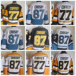 2018 Mens NHL Jersey 87 Sidney Crosby 77 Coffey White Gold Black CCM Vintage  Hockey Jerseys 100% Stitched High Quality 615b21888