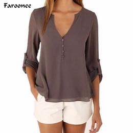 Wholesale Women Blouse Squares - Faroonee New Sexy V Neck Long Sleeve Shirts Women 2017 New Summer Casual Chiffon Blouses Ladies Plus Size Shirt Women Chiffon
