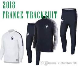 Wholesale France Soccer Jacket - 2018 FRANCE SOCCER jacket tracksuits POGBA SWEATER soccer chandal football tracksuit adult training suit skinny pants Sports