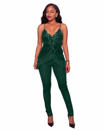 Wholesale Red Overalls For Women - 2018 New Sexy Clubwear Overalls For Women Sling Jumpsuits Playsuits Tassel Sequined Sleeveless Skinny Long Rompers Pants
