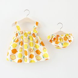 Wholesale Two Piece Cute Short Dresses - girls sets 2018 Korean style new arrivals Girls cute Color round point lemon sling dress +shorts two sets girl high quality kids sets