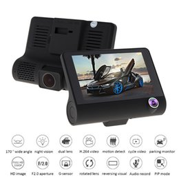 Wholesale Dvr Sensor Hidden - New 4 Inch Car Dvr Inside And Outside Three Recording Vehicle Recorder High Definition Hidden Night Vision Recorder