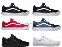 Wholesale old cheap - 2018 vans Old Skool White Black Classic zapatillas de deporte Sneakers Women Mens Canvas cheap Casual Fashion Sport Designer shoes 36-44