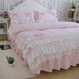 Wholesale White Embroidered Duvet Cover - New luxury layers bedding set sweet princess bow ruffle duvet cover wedding bedding pink bed sheet girl baby bed skirt cover