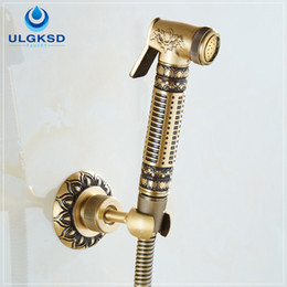Wholesale Free Tapping Machines - Ulgksd Free Shipping Wholesale Carved Wall-Mounted Bathroom Washing Machine Faucet Mixer Taps Antique Brass